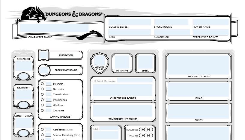Form Fillable Pdf D D Character Sheet Boccob S Blessed Blog